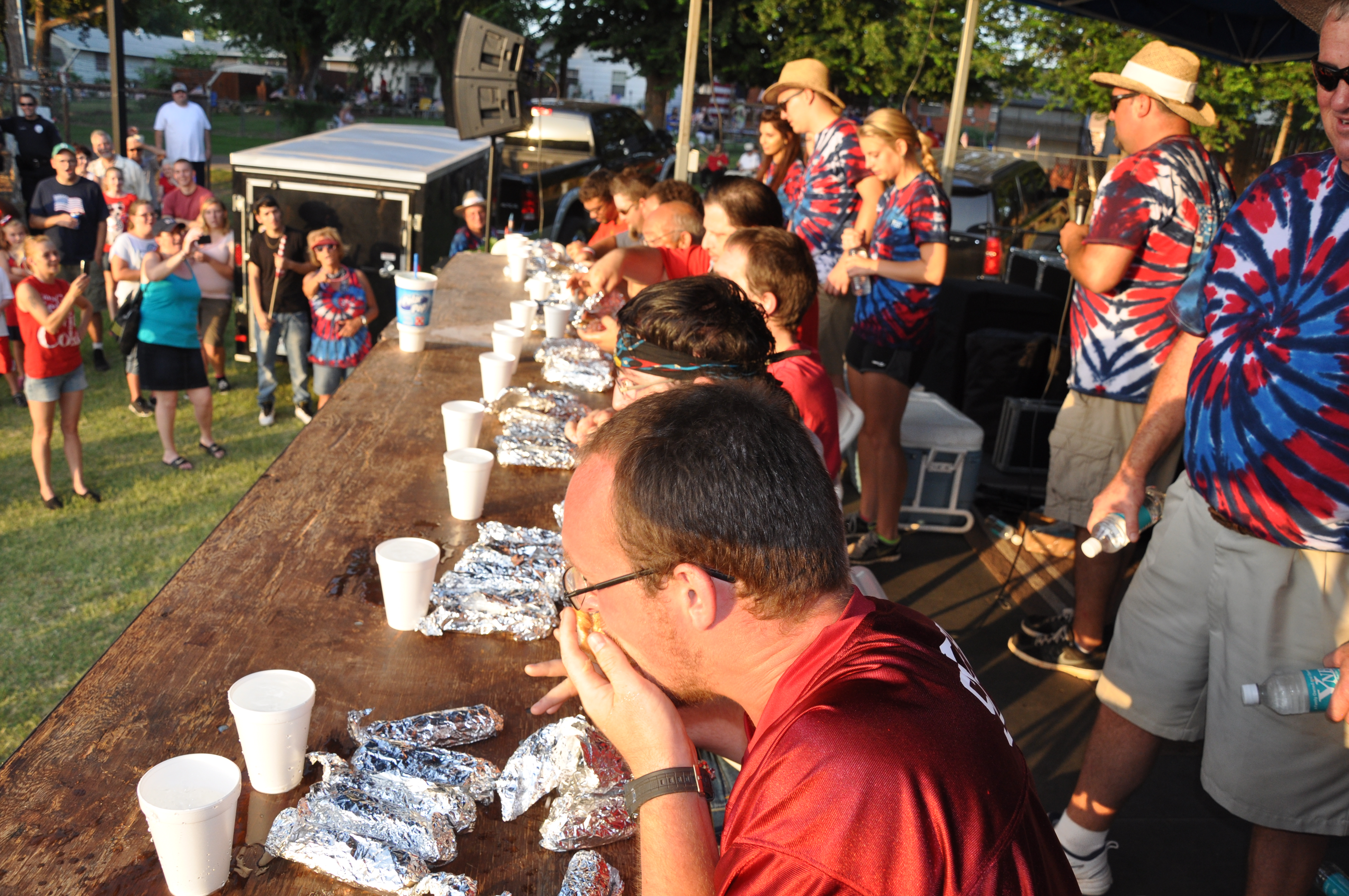 Contestants compete in the annual Freedom Fest Hot Dog Eating Contest
